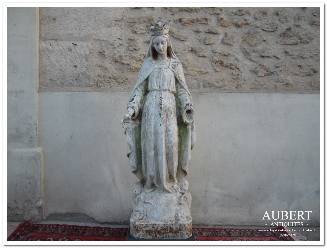 vierge en fonte 1.30m de haut statue religieuse deco interieure exterieure deco jardin achat antiquites achat brocante vente antiquites vente brocante antiquaire sete antiquaires montpellier brocanteur montpellier brocanteur sete succession debarras antiquites aubert montpellier fabregues sete beziers gigean